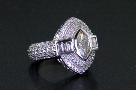 Marquise Cut Diamond with Double Bezel and Baguettes