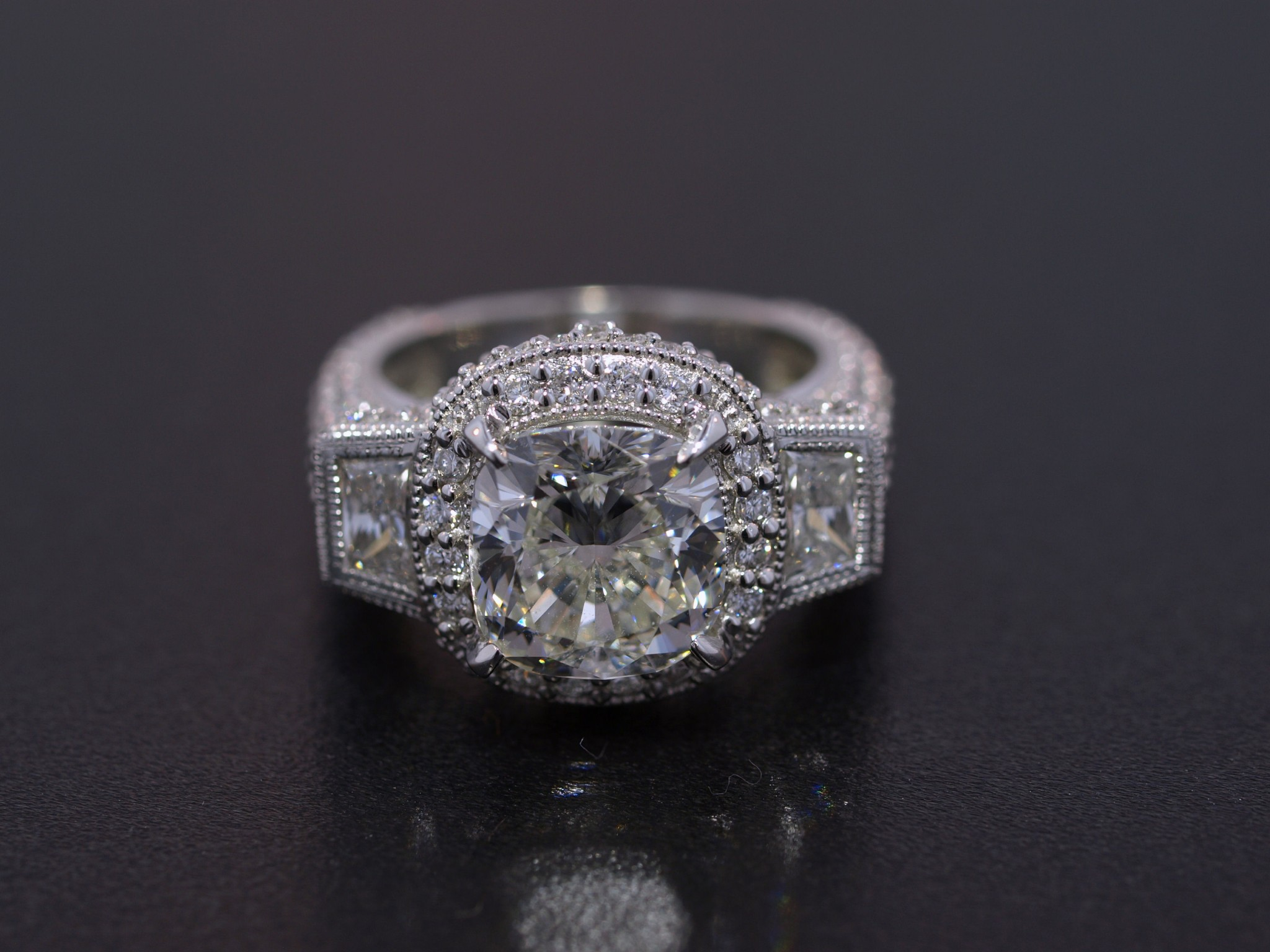 4ct Cushion Diamond Custom Platinum Ring